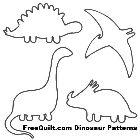 Dinosaur Patterns - Free Quilt Patterns for 4 Dinosaurs quilting - book outline template