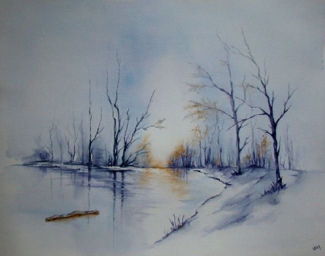 Froid bleu inconnu aquarelle paysages peinture aquarelle peinture paysage et aquarelle - Paysage enneige dessin ...