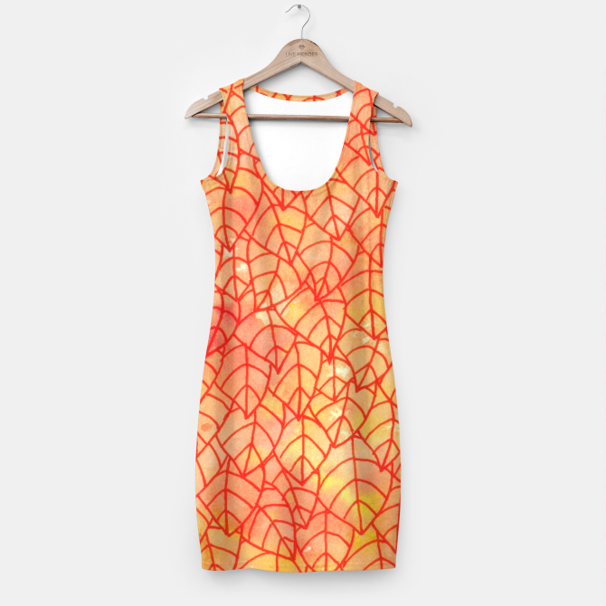 """""""Autumn foliage"""" Simple Dress by Savousepate on Live Heroes #clothing #apparel #orange #yellow #red #foliage #leaves #nature #autumncolors #fallcolors #pattern #drawing #watercolor"""