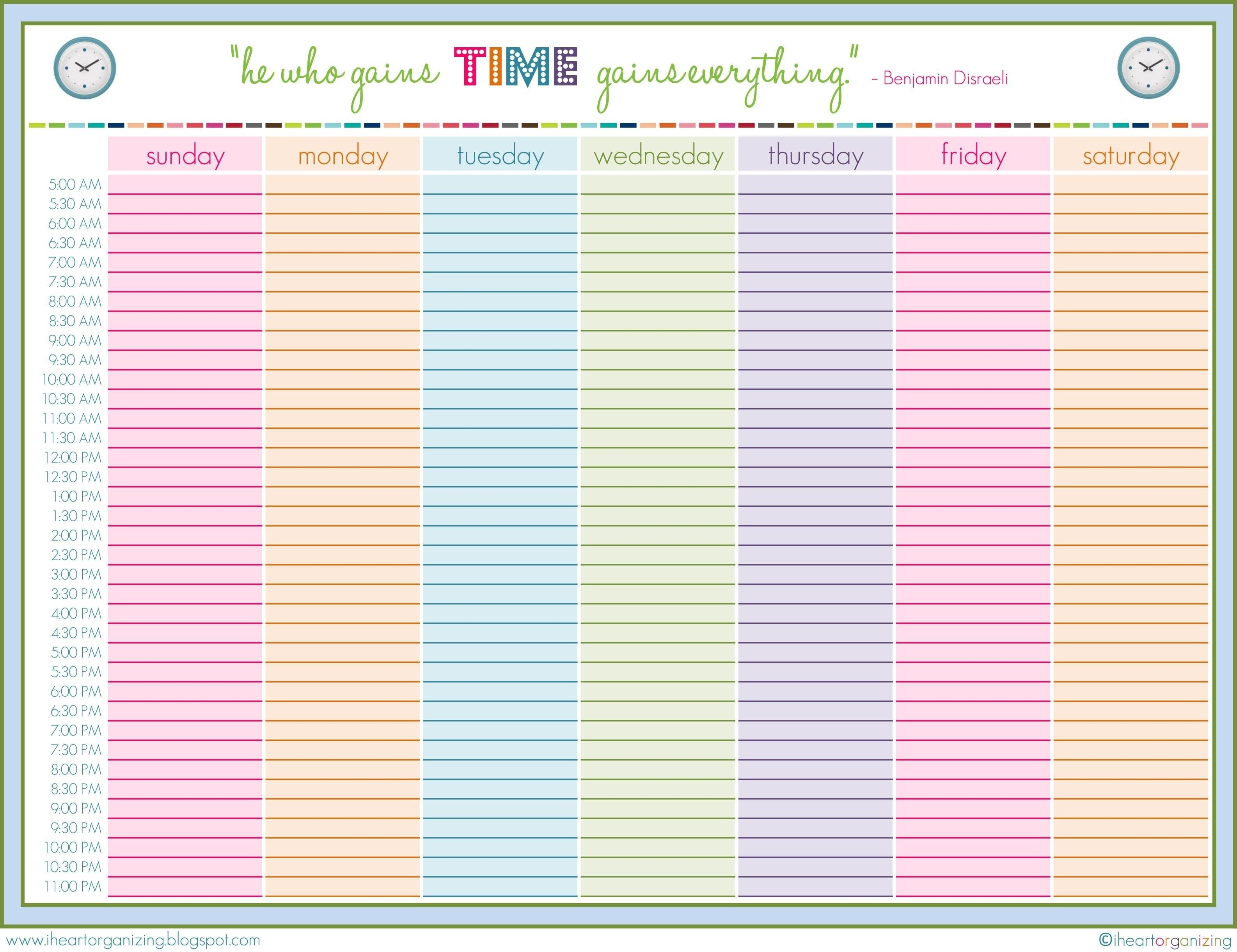 Cute Printable Weekly Schedule Cute Printable Daily