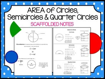 Calculating Circumference Area Of Circles Semicircles Quarter
