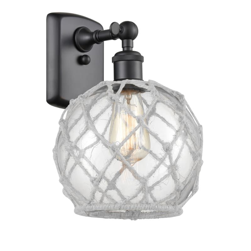 Photo of Innovations Lighting 516-1W Farmhouse Rope Farmhouse Rope 13″ Tall Bathroom Scon Matte Black / Clear / White Indoor Lighting Bathroom Fixtures