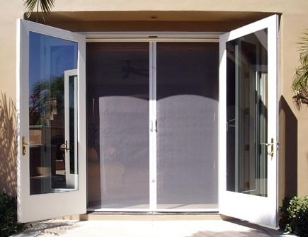 Retractable screen door for french doors craftsman home for Retractable double screen door