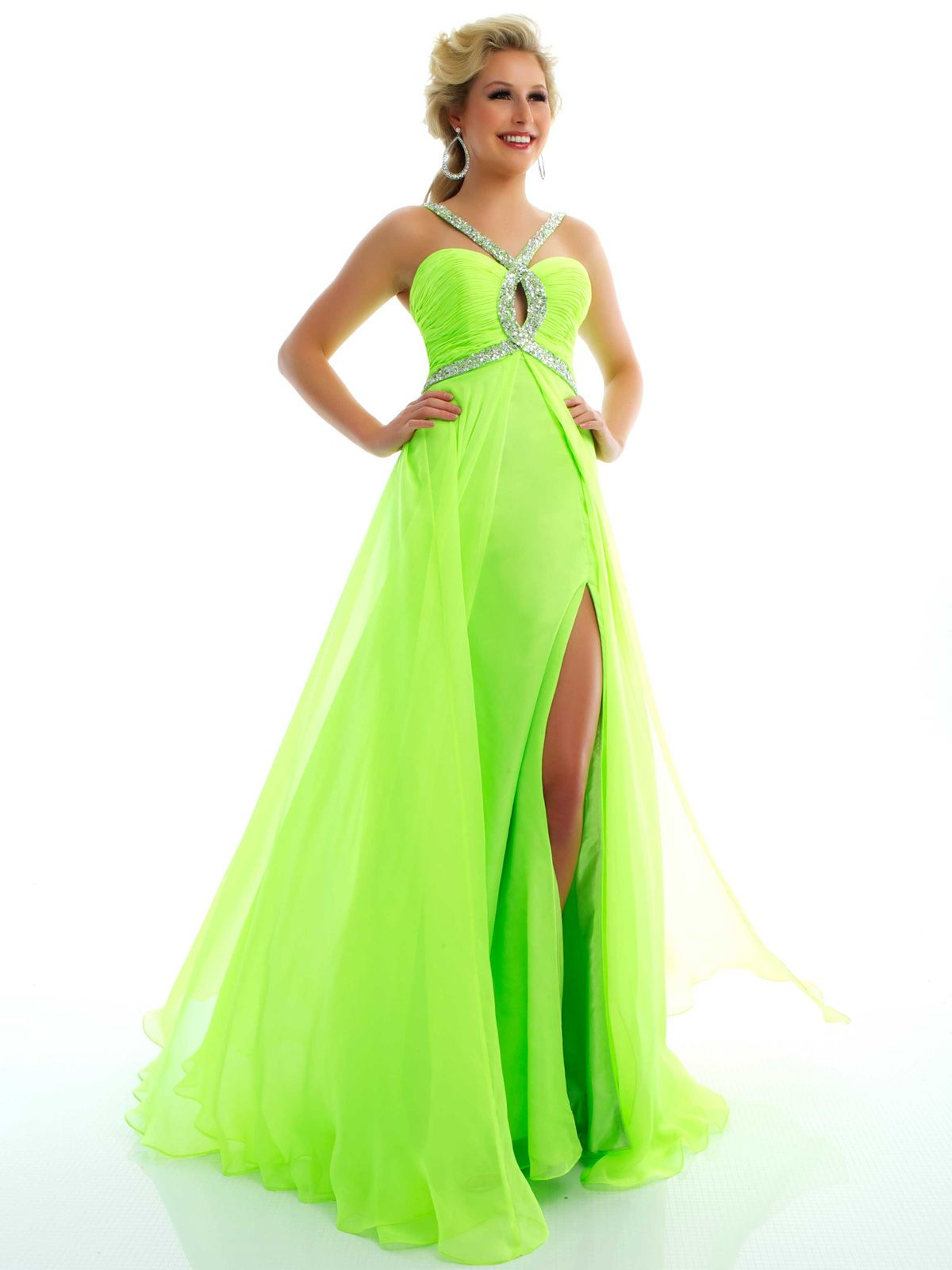 Dress displays a beaded vneck strap ruched bust with beaded