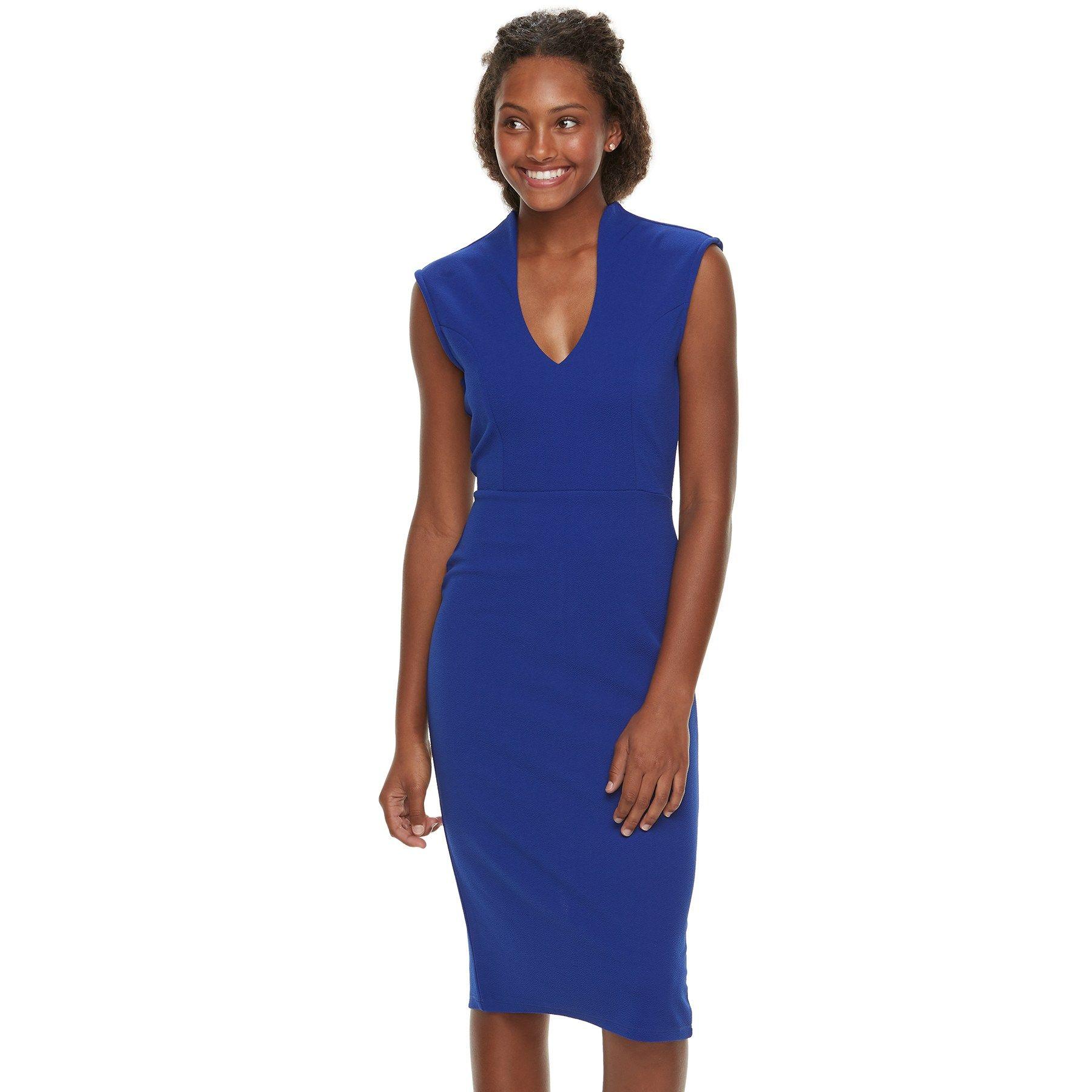 fa189f781692 12/9/18 Brand/Designer: Almost Famous Material: Polyester /Spandex Dress  Silhouette: Bodycon Shoulder: Sleeveless Neckline: V-Neck Closure/Back:  Back Zipper ...