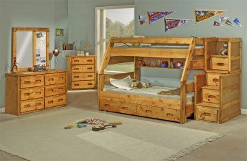 Best Pine Twin Over Full Bunk Bed In Amber Wash With Optional 400 x 300