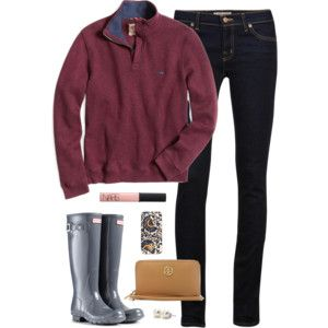 {pullover and rain boots}