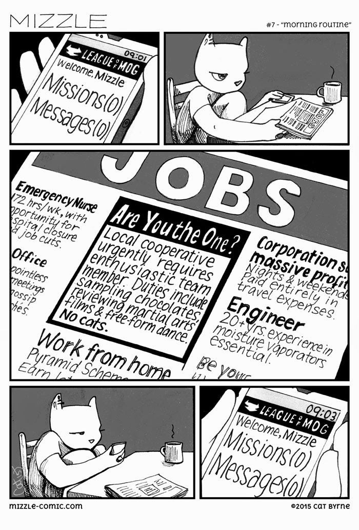 """Morning routine"" - Mizzle looks for work. Comic by Cat Byrne."
