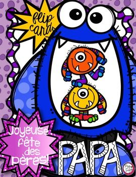 FRENCH Father's Day Flip Card - La fête des pères!   PAPA, je t'aime MONSTRUEUSEMENT!