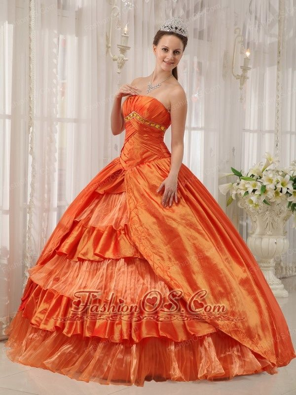 Classical Orange Quinceanera Dress Strapless Taffeta Ruffles Ball Gown  http://www.fashionos.com  organge appliqued quinceanera dress | pretty quinceanera dress shop online | taffeta ball gown quinceanera dress | quinceanera dress with layers of organza | beaded floor length quinceanera gown | exclusive quinceanera dress for sale |