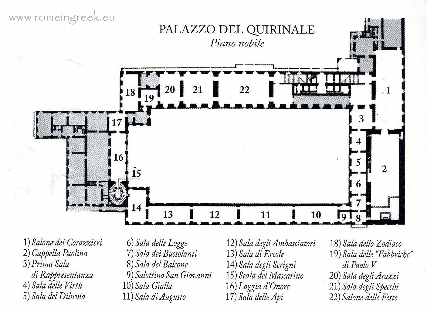 Piano nobile first floor plan palazzo quirinale from for Palazzo floor plan