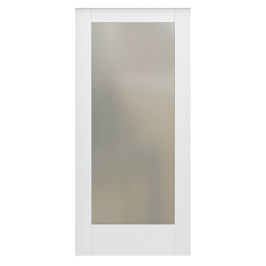 Jeld Wen Moda 1011 Primed 1 Panel Square Solid Core Frosted Glass Mdf Slab Door Common 28 In X 80 In Actual 28 In X 80 In Lowes Com Slab Door Wood Barn Door Translucent Glass