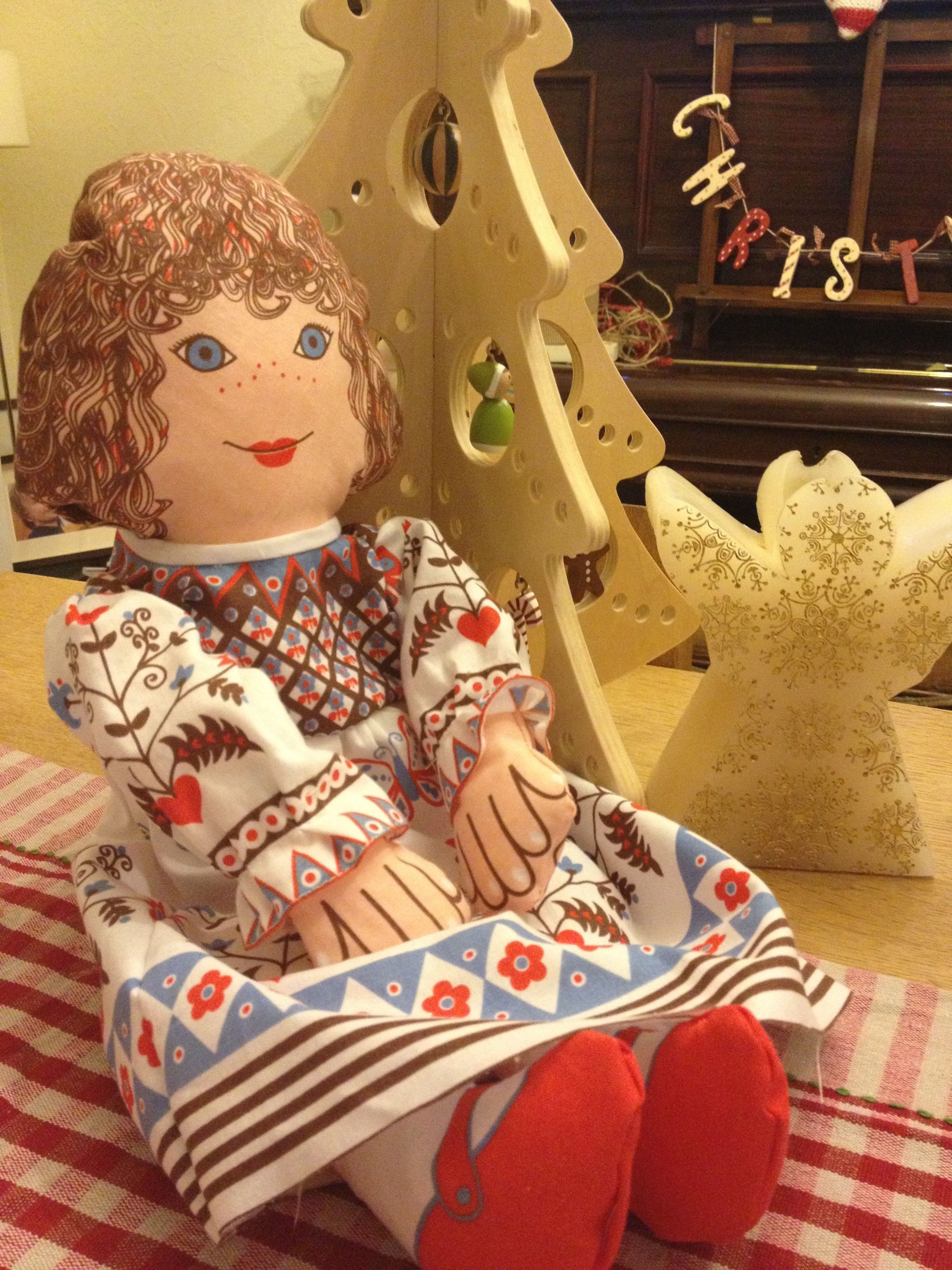 I made this #clothkits doll in my sewing group. My little girl loves it. A classic 70's design for our 70's house!