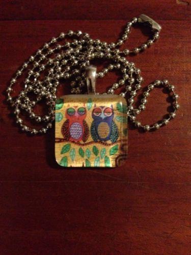 "Owl Glass Tile Pendant 1"" Tile with 24"" Ball Chain Free Shipping USA"
