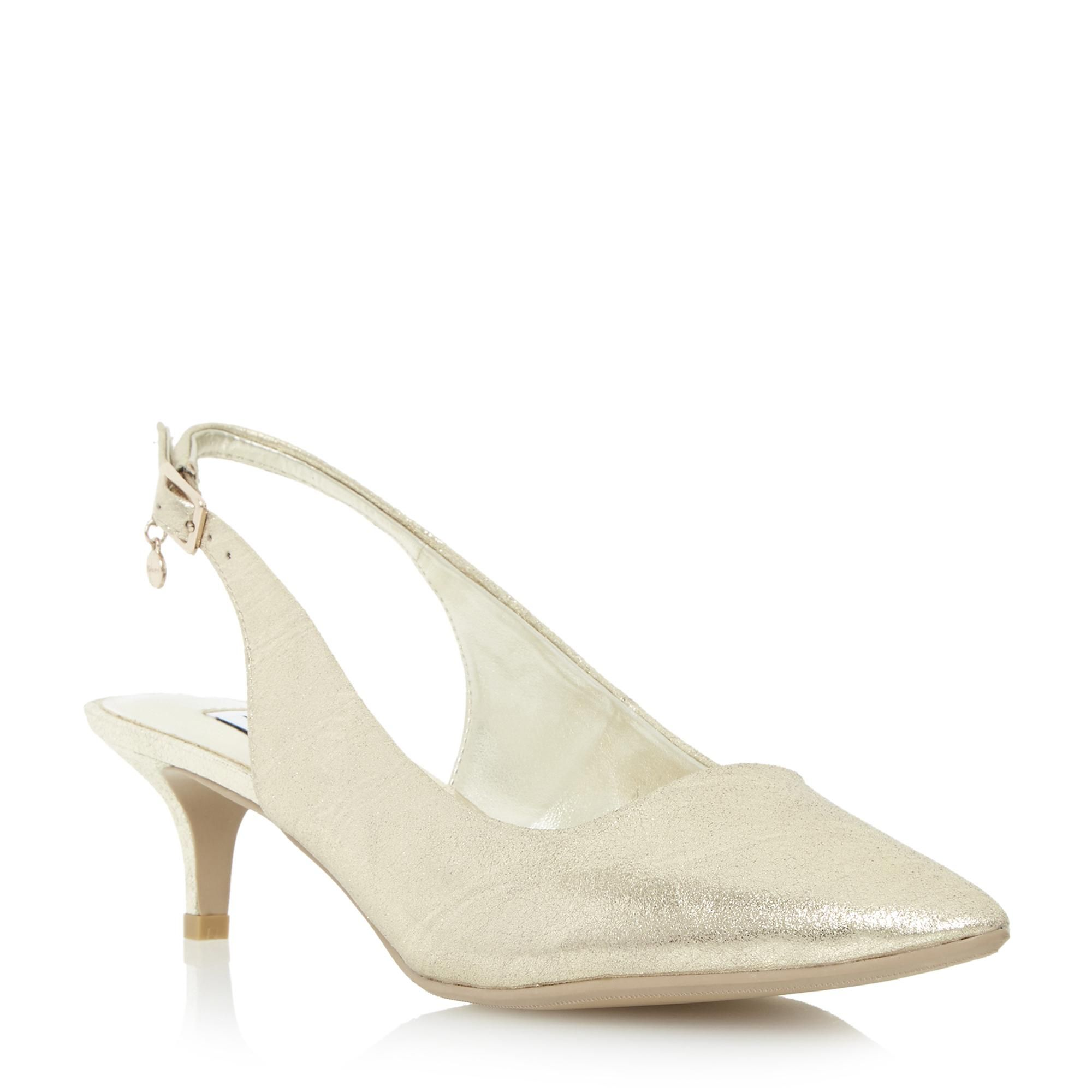 Dune Ladies Cathryne Kitten Heel Slingback Court Shoe Gold Dune Shoes Online 30 In Sale Size 6 Only Though Court Shoes Dune Shoes Kitten Heels