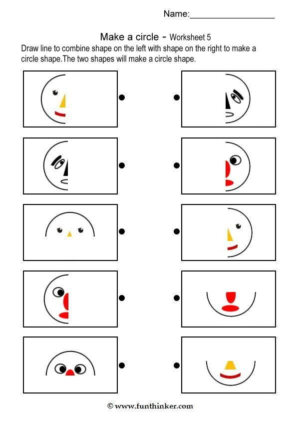 Make A Circle Shape Matching Worksheets Pre School