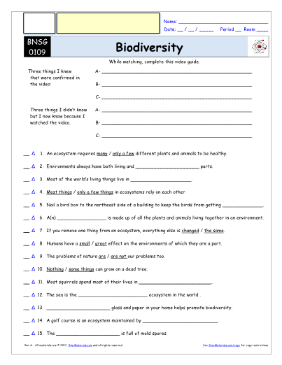 photograph relating to Biodiversity Printable Worksheets named Worksheet for Monthly bill Nye - Biodiversity * Video clip Differentiated