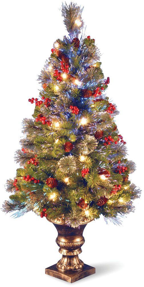 4 Fiber Optic Crestwood Spruce Christmas Tree Cones Glitter Red Berries In Gold Pot Fiber Optic Christmas Tree Spruce Christmas Tree Green Christmas Tree