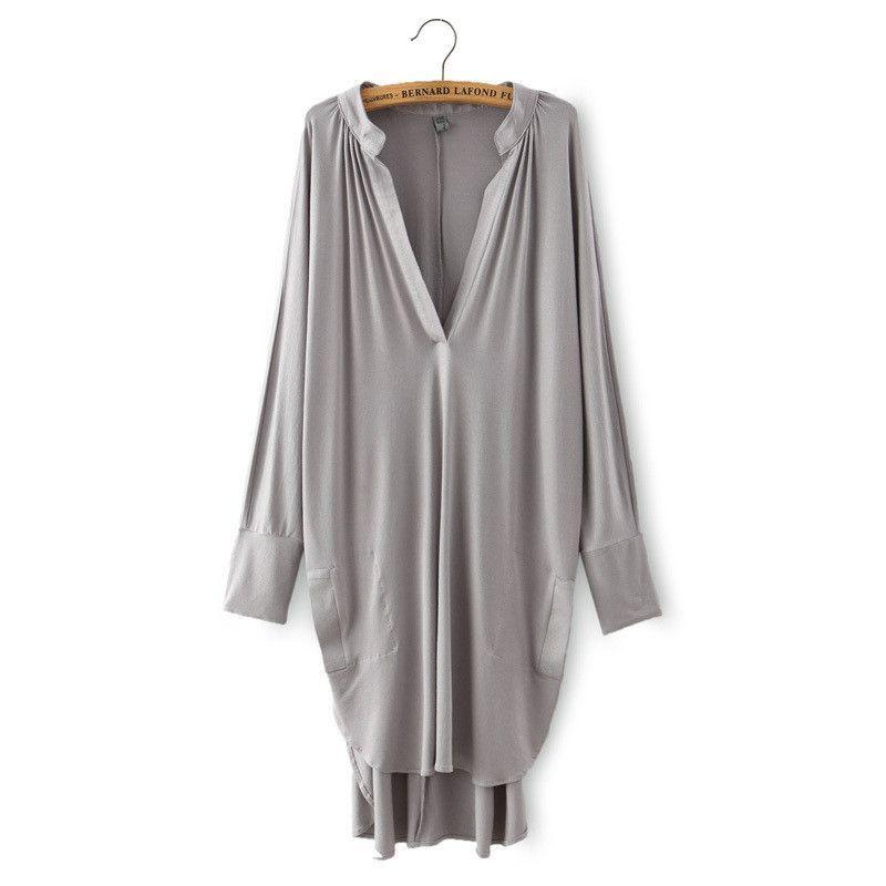 f8cbe6e3edb A453 Women Loose Asymmetric long t shirt Dress Knitwear Cotton fabric Boho  People Summer Style High