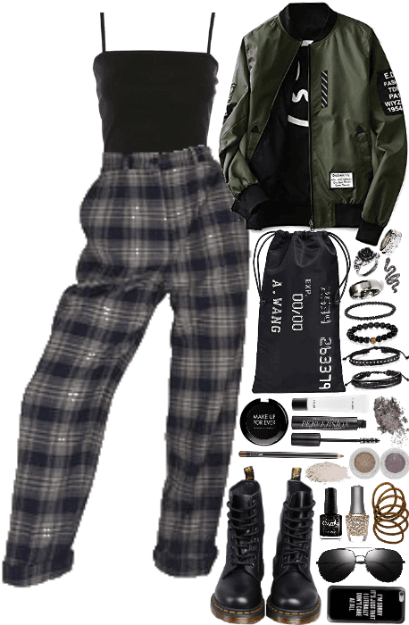 Edgy Plaid Pants Outfit