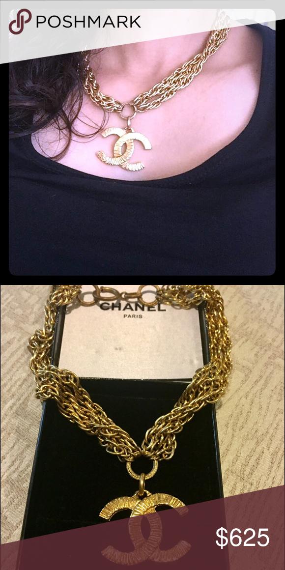 8d1ed03b9d6798 Authentic Vintage Chanel logo necklace gold Authentic Vintage Chanel  necklace with box. Rare authentic Chanel