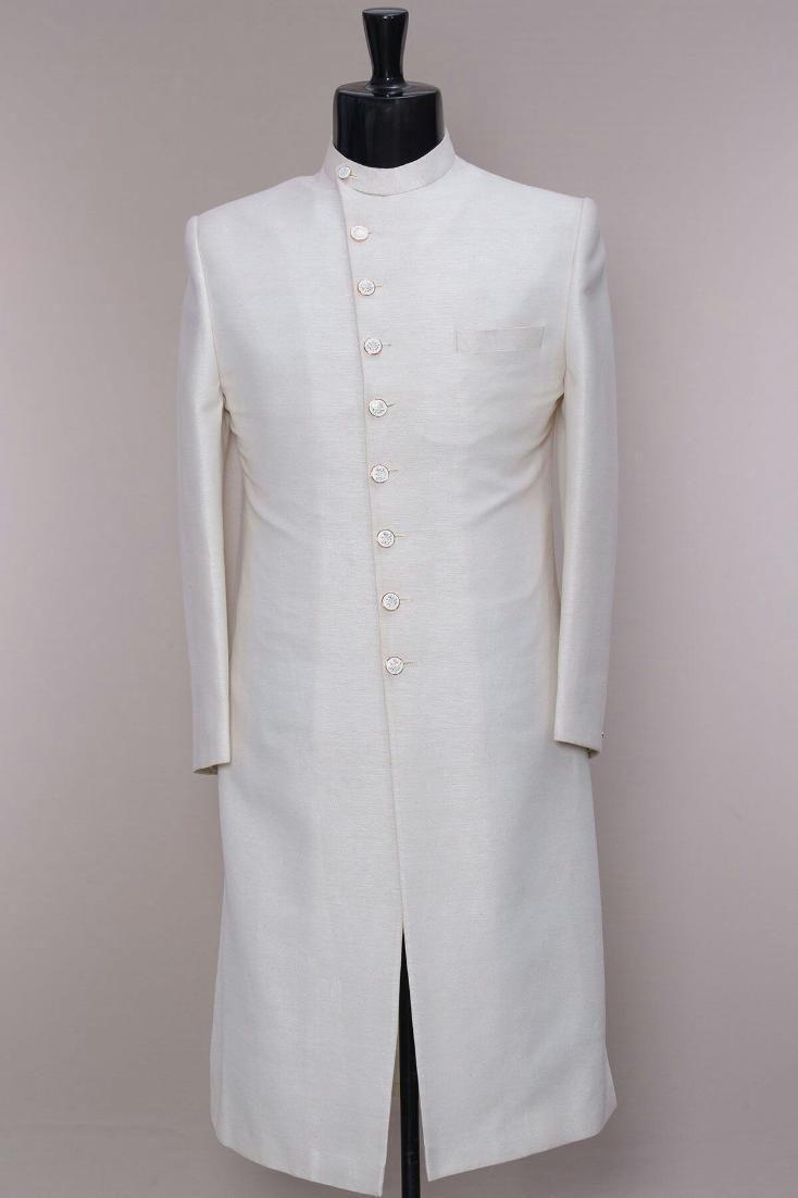 Royal white raw silk sherwani mens sherwani in pinterest