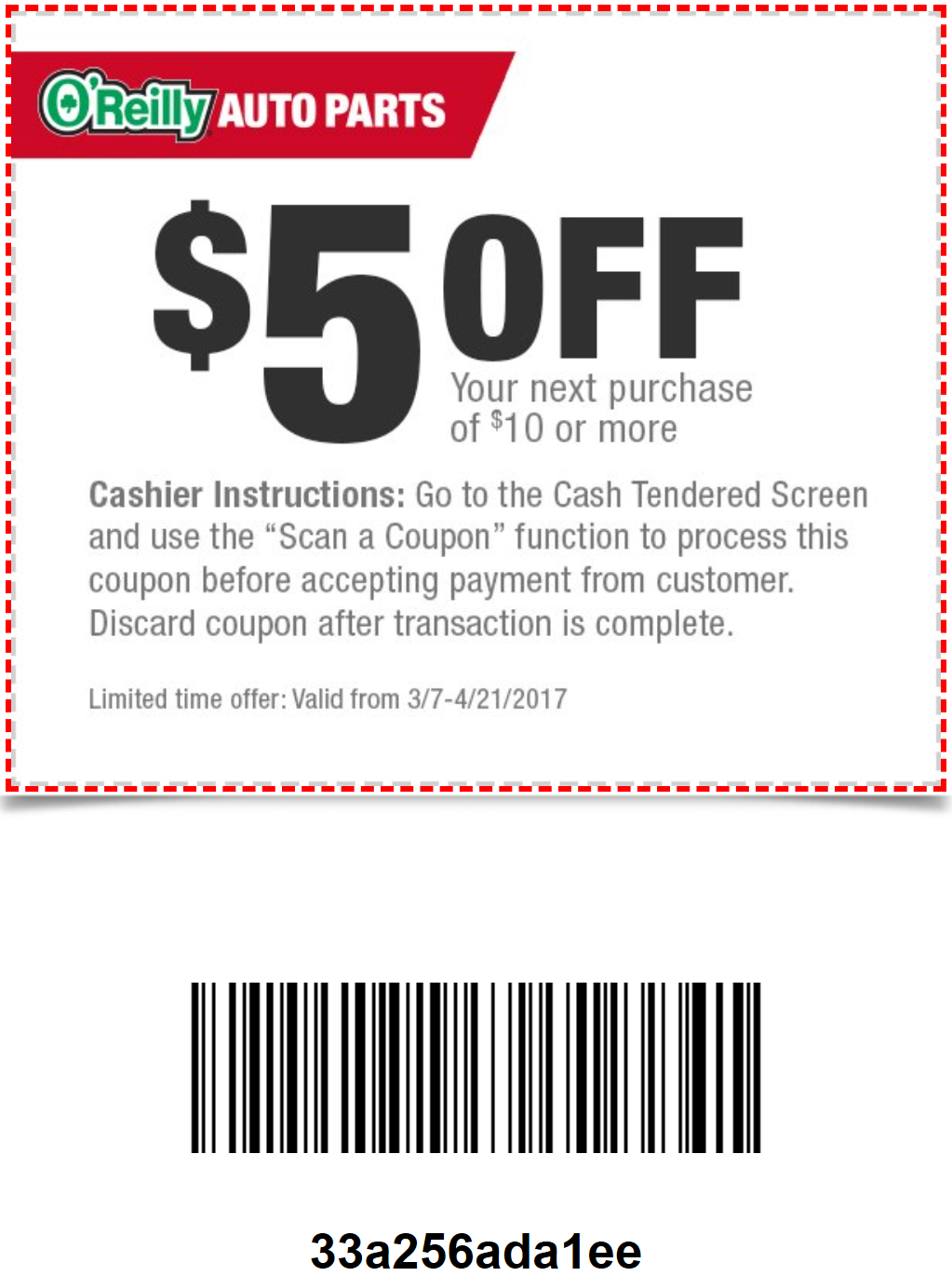 image about O Reilly in Store Printable Coupons called OReilly Refreshing #Coupon $5 off $10 Invest in of persistently priced