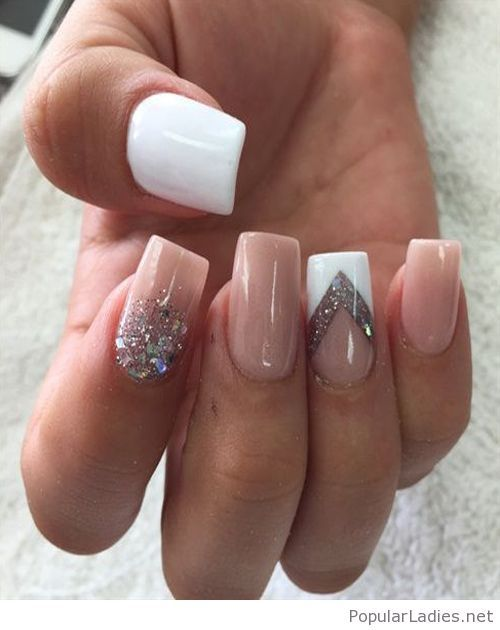 Nude And White Silver Detail Nails Pinterest Nail Art Nails