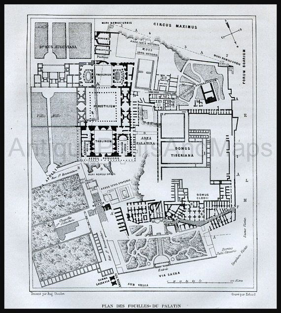 1873 Antique Engraving Map of  The Excavation of The Palatine in Rome Italy.