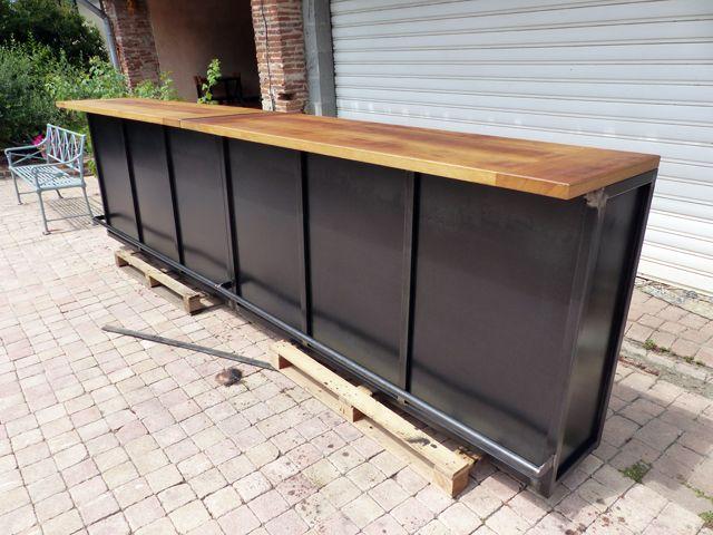 Comptoir De Bar Industriel Brocantetendance Fabrication Sur Mesure Bar En Bois Idee Deco Bar Comptoir De Bar