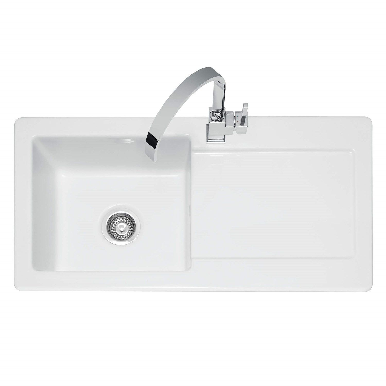 Caple Foxboro 1 Bowl White Ceramic Kitchen Sink With Reversible Drainer 1000 X 500mm White Ceramic Kitchen Sink Sink Ceramic Kitchen Sinks