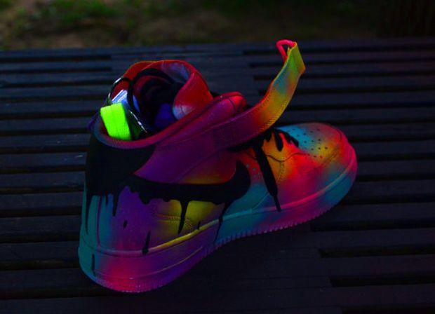 custom neon black drip nike af1 air
