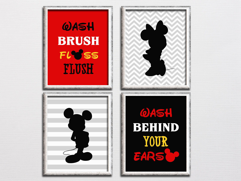 Mickey and Minnie inspired bathroom wall art set printable ...