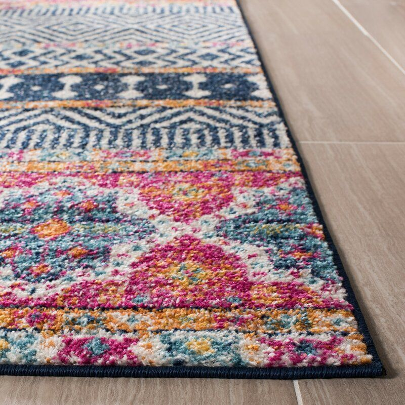 Gutierez Geometric Red Pink White Navy Blue Area Rug In 2020