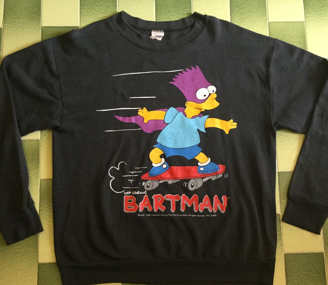 Vintage 90s Bart Simpson Bartman Sweater Pullover Jumper Pit To Pit 23 Top To Bottom 27 Polo Tank Tops Vintage Tshirts Sweatshirts [ 938 x 1080 Pixel ]