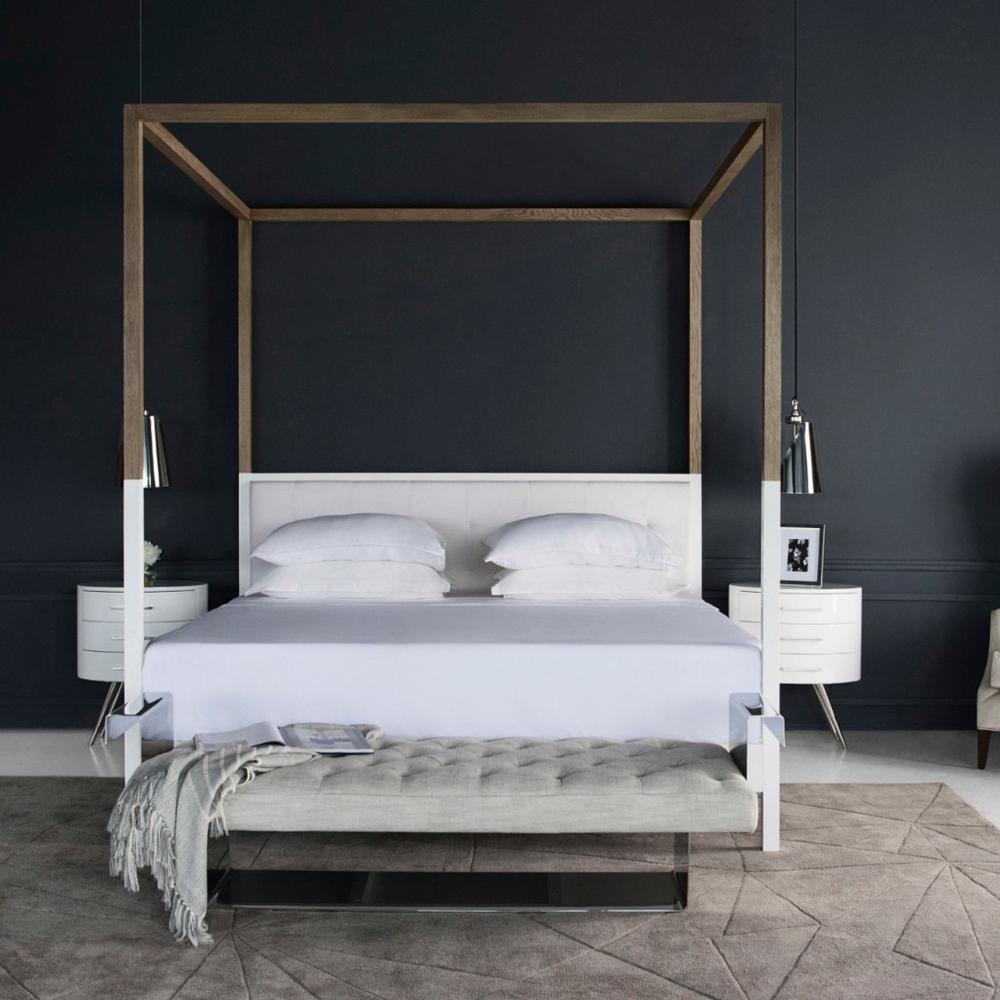 Duke Modern White Oak Wood Queen Poster Bed in 2020