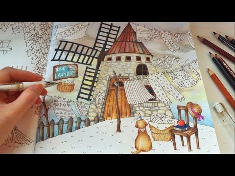 Blue Bird's Laundry (Part 2) | ROMANTIC COUNTRY Coloring Book | Coloring With Colored Pencils - YouTube