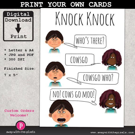 Knock Knock Joke Cowsgo Greeting Card For Kids, Instant