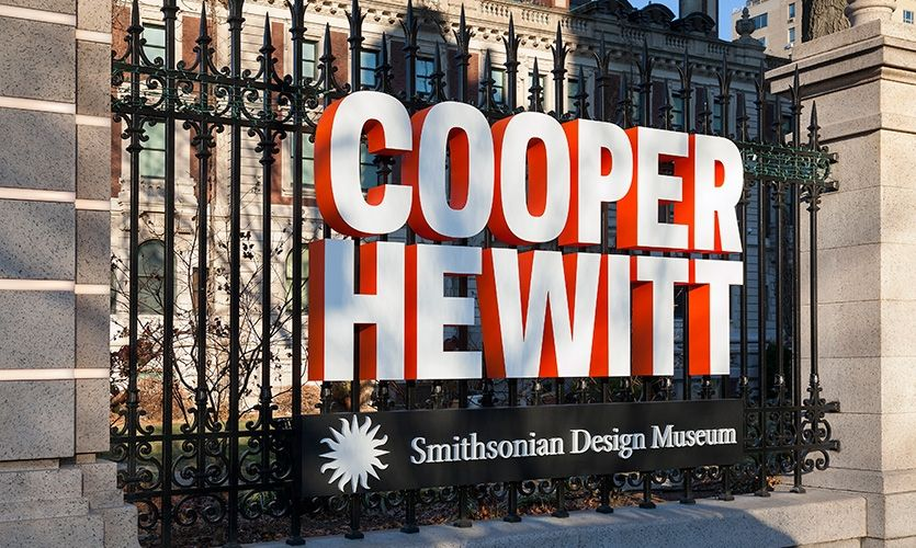 Cooper Hewitt, Smithsonian Design Museum Signage, 2017 SEGD Global Design Awards Merit Award | In December 2014, following a three-year renovation that has restored the historic Andrew Carnegie Mansion and increased the museum's exhibition space by 60 percent, the Cooper Hewitt, Smithsonian Design Museum reopened to the public.