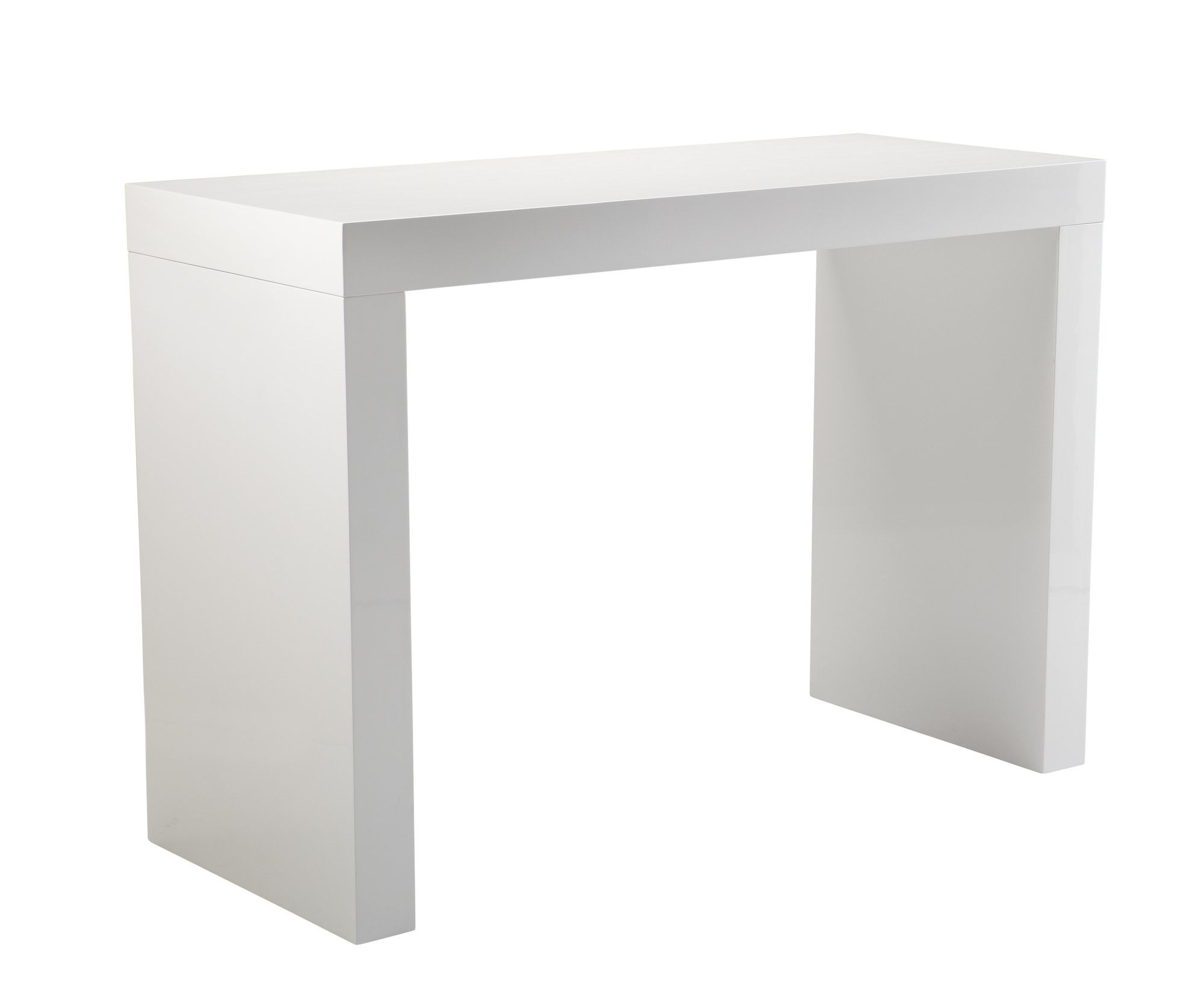 Sunpan modern faro high gloss c shape bar table for Table bar moderne