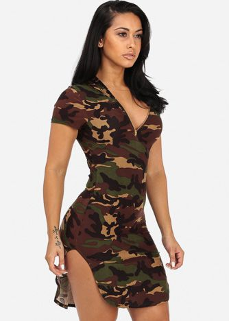 06705f64b3d Hooded Camouflage Bodycon Dress