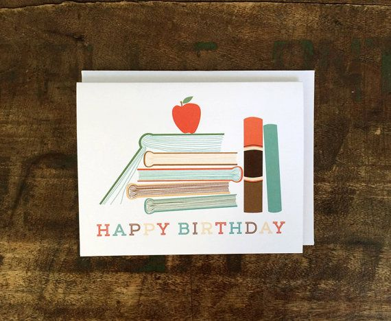 Book Lover Birthday Card Librarian Teacher By Thebeautifulproject
