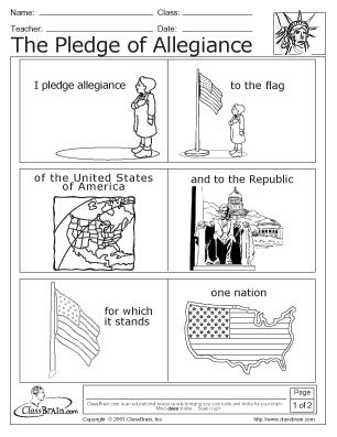 Pledge Of Allegiance And America Coloring Pages Worksheets