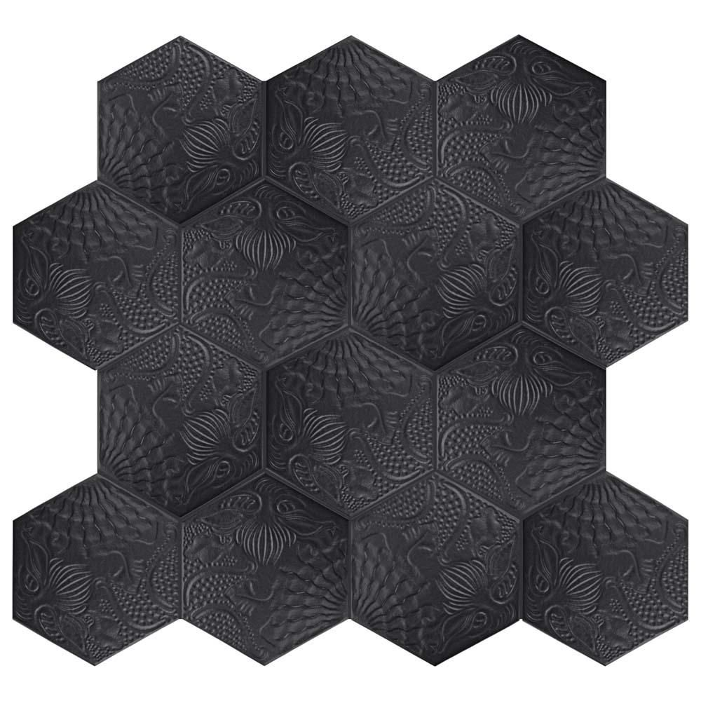 Merola Tile Gaudi Hex Black 8 5 8 In X 9 7 8 In Porcelain Floor And Wall Tile 11 56 Sq Ft Case Fcd10gbx The Home Depot Elitetile Wall Tiles Wall Patterns