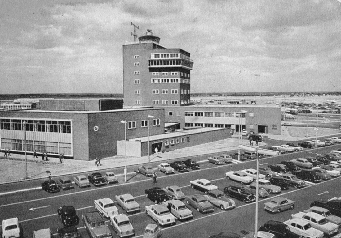 control tower, heathrow airport, london, england, 1968