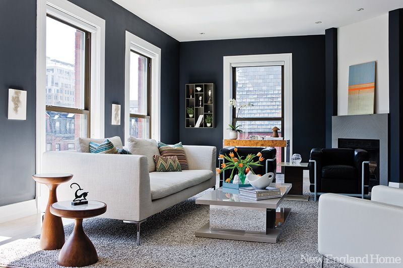 In A Smallish Living Room Dark Gray Paint Helps The Walls Fade Into Background Especially When Paired With Light Colored Furniture