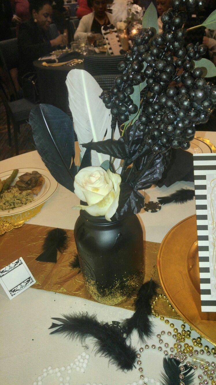 Mason Jar Centerpiece For Harlem Nights Theme Party Harlem Nights