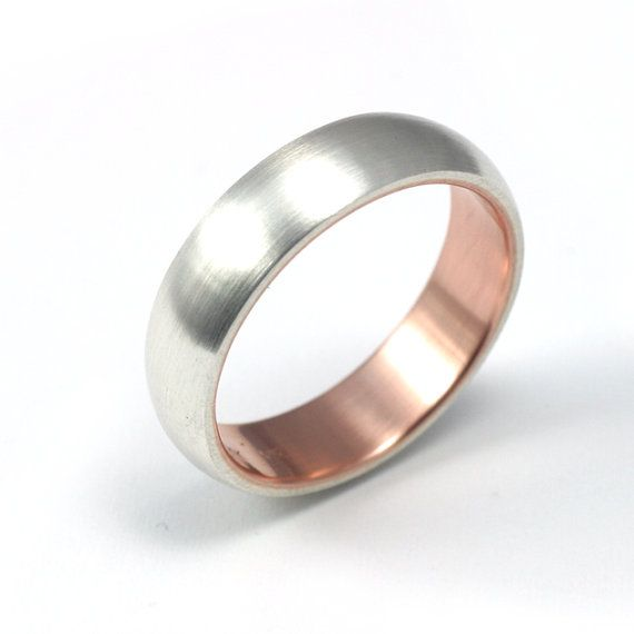 Silver And Rose Ring With Gold Sleeve Inside