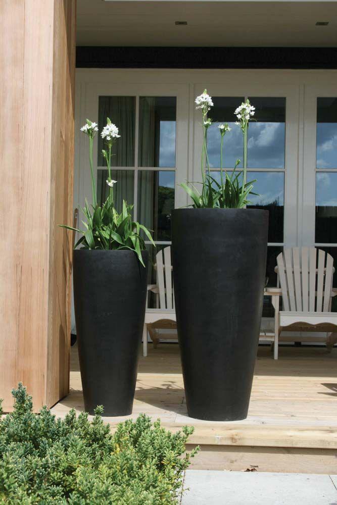 Bloempot / vaas Kenny hoogte 80 cm zwart / grijs VTW