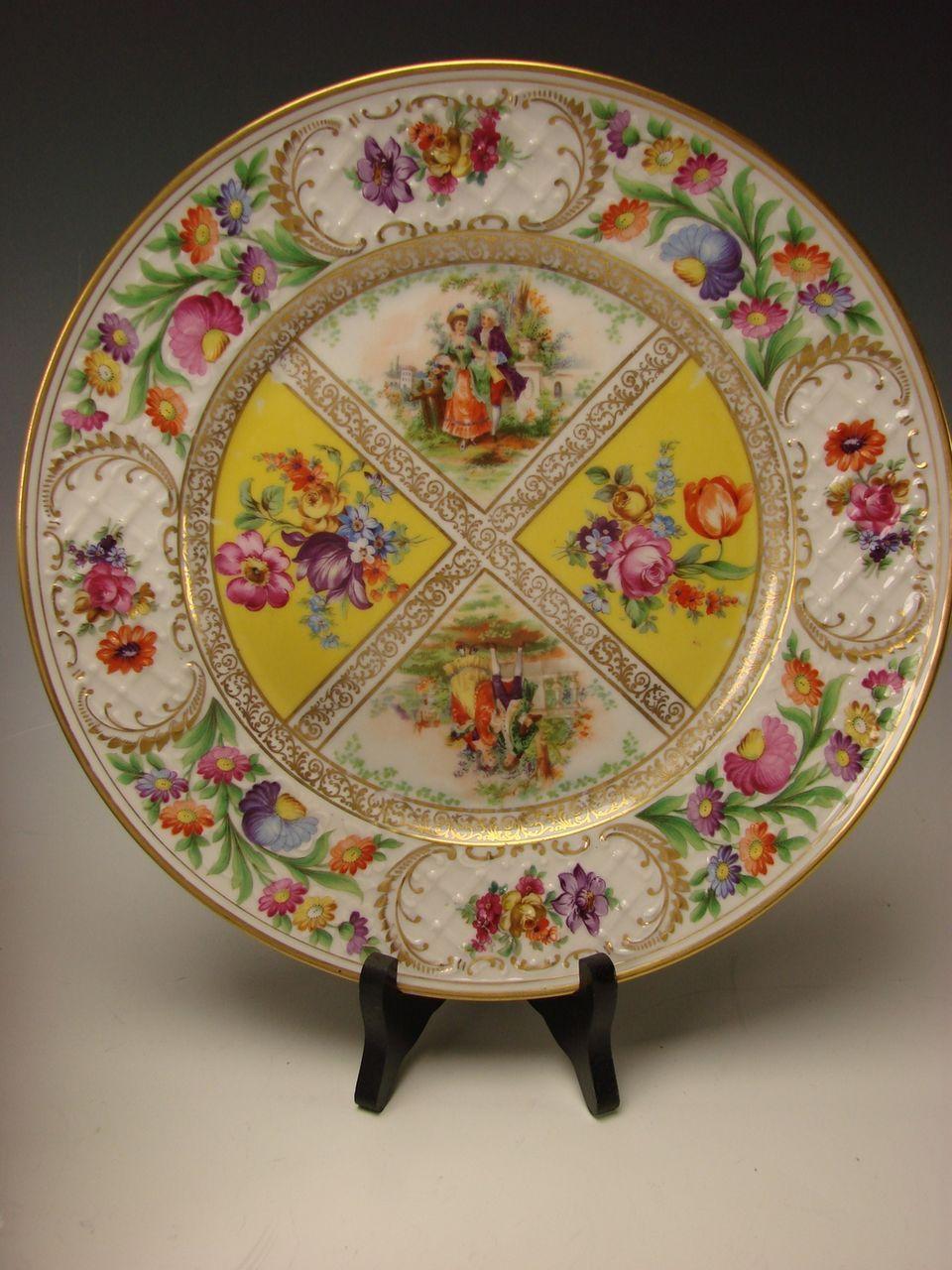 Antique Schumann Dresden German Porcelain Yellow Flowers Dinner Plates SET & Antique Schumann Dresden German Porcelain Yellow Flowers Dinner ...
